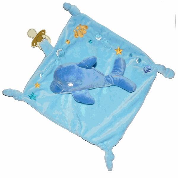 doudou dauphin bleu avec attache sucette. Black Bedroom Furniture Sets. Home Design Ideas
